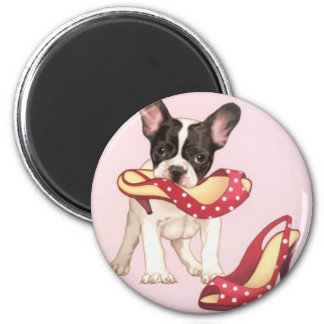 Boston Terrier Puppy With Shoes Fridge Magnet