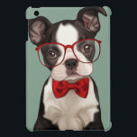 """Boston Terrier Puppy with Specs iPad Mini Cover<br><div class=""""desc"""">Cute illustration of a hipster style boston terrier puppy wearing eye glasses and chic red bow tie on blue background. Designed by Maryline Cazenave.</div>"""