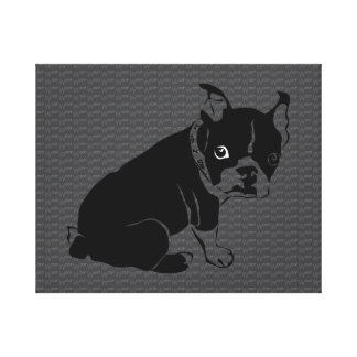 Boston Terrier puppy Woof Canvas Print