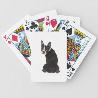 Boston Terrier que le mira naipes Baraja De Cartas