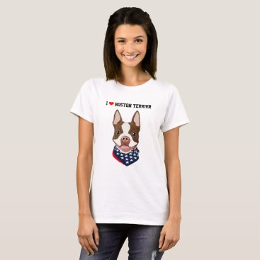 USA Themed Boston Terrier (Red / Brown) Illustrated T-Shirt