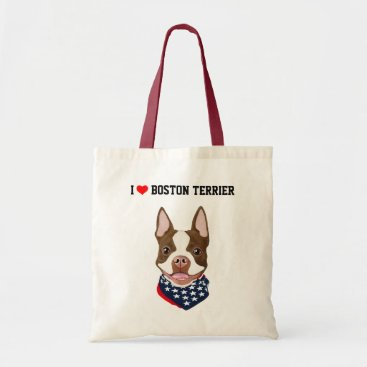 USA Themed Boston Terrier (Red / Brown) Illustrated Tote Bag