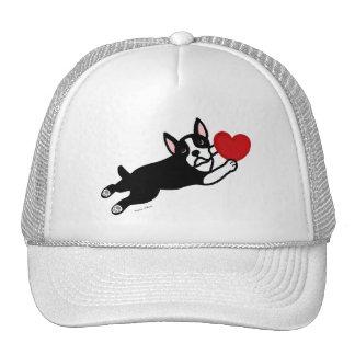 Boston Terrier & Red Heart Cartoon Trucker Hat