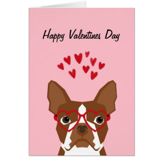 Boston Terrier Red Valentines Love Card
