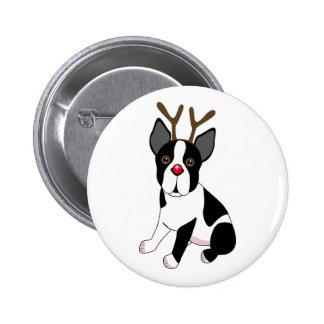 Boston Terrier Reindeer 2 Inch Round Button