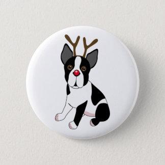 Boston Terrier Reindeer Button