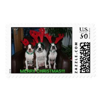 Boston Terrier Reindeer Christamas Stamp
