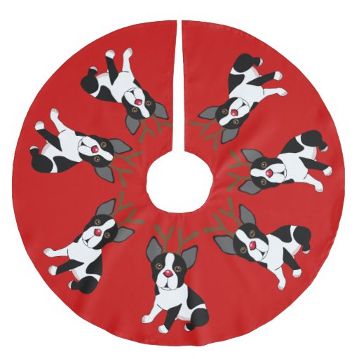 Boston Terrier Reindeer Christmas Tree Skirt