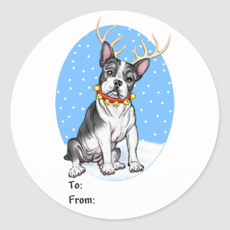 Boston Terrier Reindeer Gift Tags