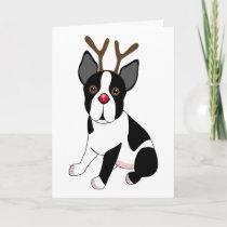 Boston Terrier Reindeer Holiday Card