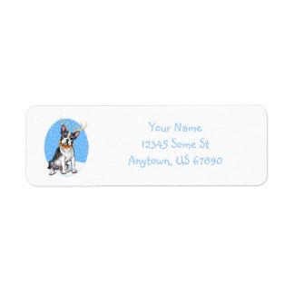 Boston Terrier Reindeer Labels