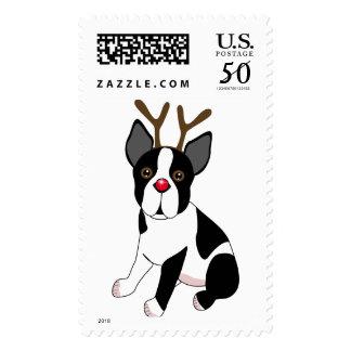 Boston Terrier Reindeer Postage