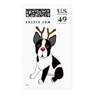 Boston Terrier Reindeer Postage