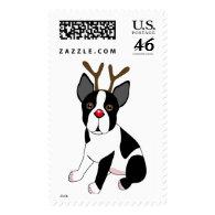 Boston Terrier Reindeer Postage Stamps