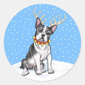 Boston Terrier Reindeer Round Sticker