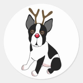 Boston Terrier Reindeer Sticker