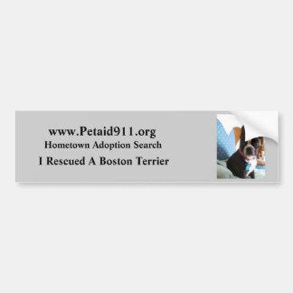 Boston Terrier Rescue Bumper Sticker Car Bumper Sticker