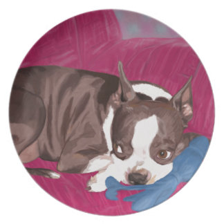 Boston Terrier Resting on Red Couch -Digital Paint Dinner Plate