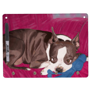 Boston Terrier Resting on Red Couch -Digital Paint Dry Erase Board With Keychain Holder