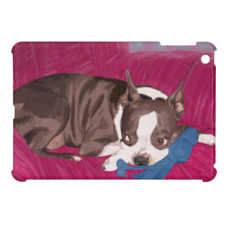 Boston Terrier Resting on Red Couch -Digital Paint iPad Mini Case