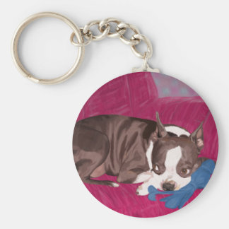 Boston Terrier Resting on Red Couch -Digital Paint Keychain