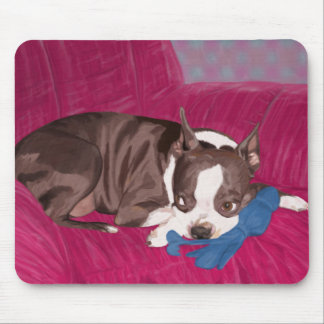 Boston Terrier Resting on Red Couch -Digital Paint Mouse Pad