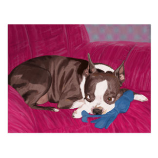 Boston Terrier Resting on Red Couch -Digital Paint Postcard
