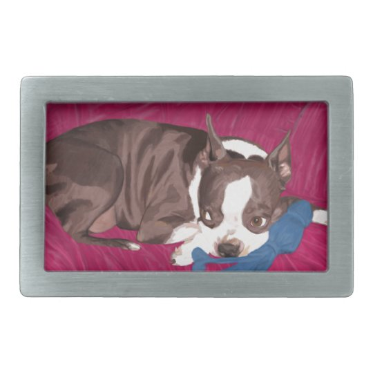 Boston Terrier Resting on Red Couch -Digital Paint Rectangular Belt Buckle