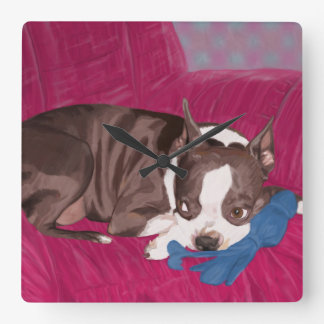 Boston Terrier Resting on Red Couch -Digital Paint Square Wall Clock