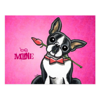 Boston Terrier Rose Love Message Custom Postcard