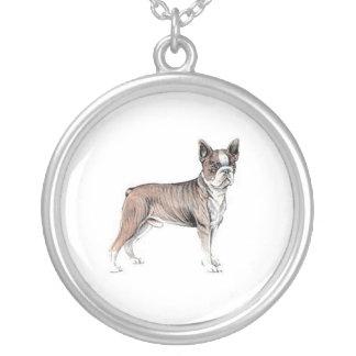 Boston Terrier Round Pendant Necklace