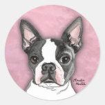 Boston Terrier Round Stickers