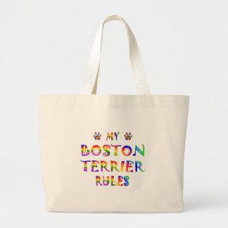 Boston Terrier Rules Fun Canvas Bag