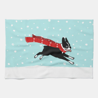 Boston Terrier Running in the Snow - Holiday Dog Towels
