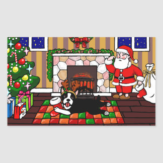 Boston Terrier & Santa Christmas Cartoon 3 Rectangular Sticker