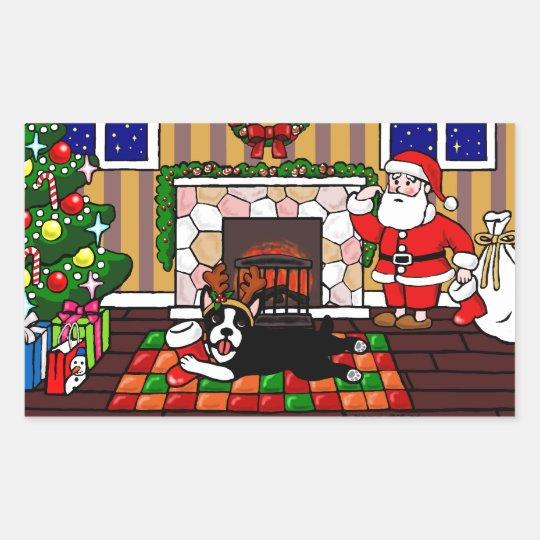 Boston Terrier & Santa Christmas Cartoon 3 Rectangular Sticker