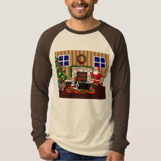 Boston Terrier & Santa Christmas Cartoon 3 T-Shirt