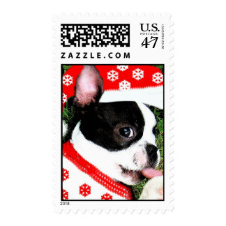 Boston Terrier Santa Christmas Holiday Stamp