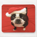 Boston Terrier Santa Claus Dog Mousepad