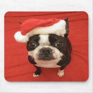 Boston Terrier Santa Claus Dog Mousepad