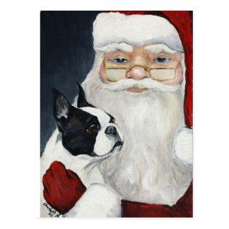 Boston Terrier / Santa Dog Art Christmas Postcard