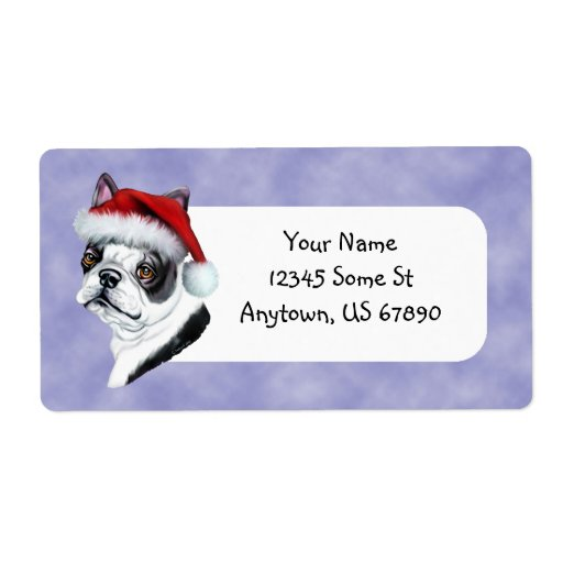Boston Terrier Santa Hat ChristmasLabels Shipping Label