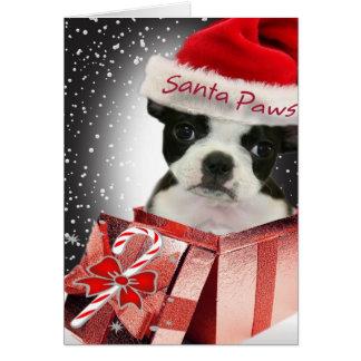 Boston Terrier Santa Paws Cards