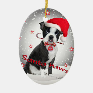 Boston Terrier santa Paws Double-Sided Oval Ceramic Christmas Ornament