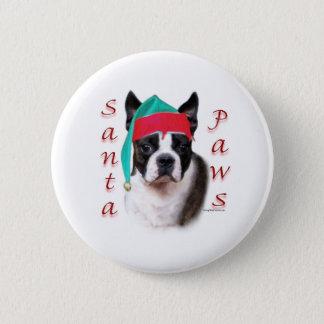 Boston Terrier Santa Paws Pinback Button