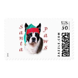 Boston Terrier Santa Paws Postage