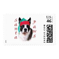 Boston Terrier Santa Paws Stamps