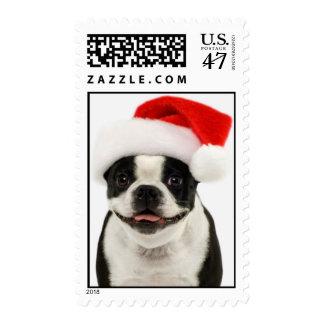 Boston Terrier Santa Postage