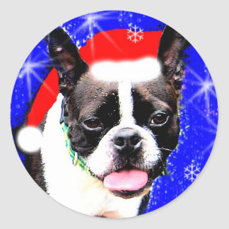 Boston Terrier Santa Sticker