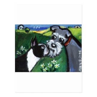 Boston Terrier & Schnauzer sniff Post Cards